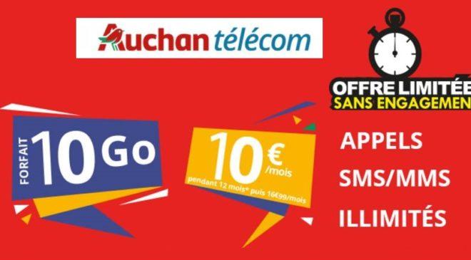 Forfait Auchan Telecom 10Go a 10€
