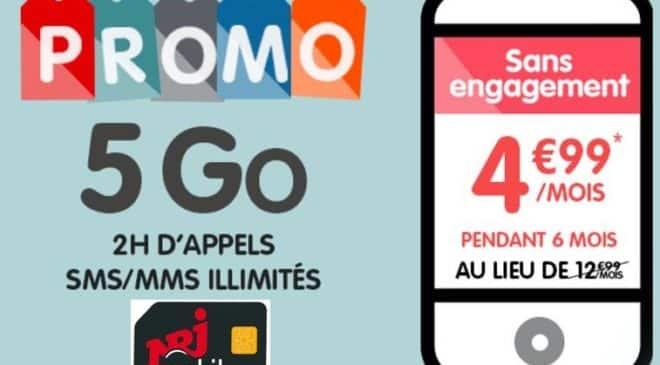 Forfait NRJ Mobile 5Go à 4,99€
