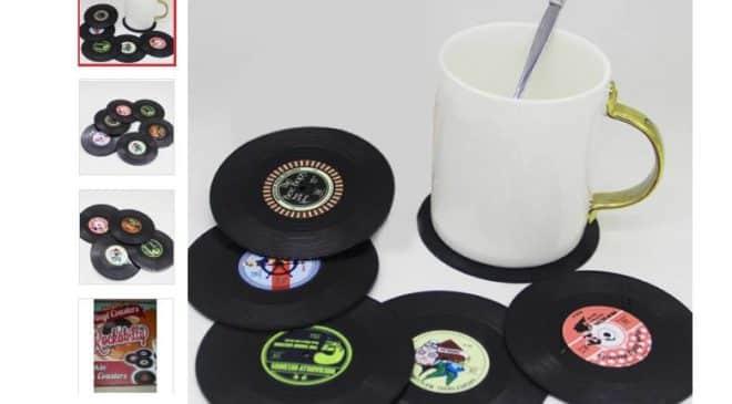 Moins de 3,60€ le set de 6 sous-verres disque vinyle