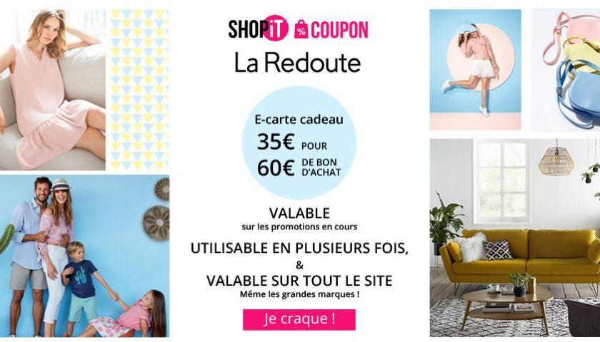 Seulement 35€ la E-carte La Redoute de 60€