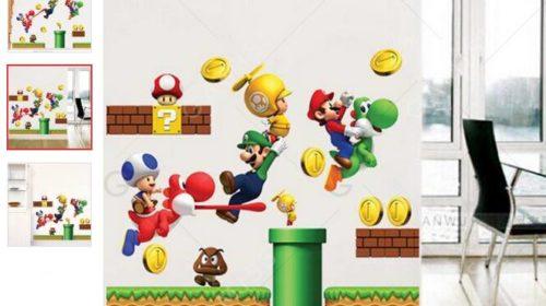 Sticker mural Mario, Luigi… à seulement 3,66€