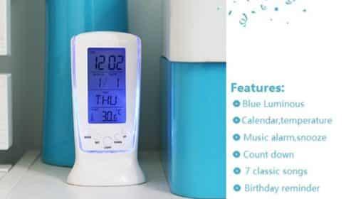 Thermomètre horloge calendrier alarme digital pas chère