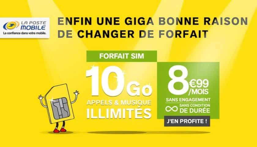 Vente privée forfait La Poste Mobile 10go