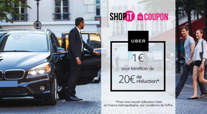 1€ les deux bons d'achat Uber d'une valeur de 20€