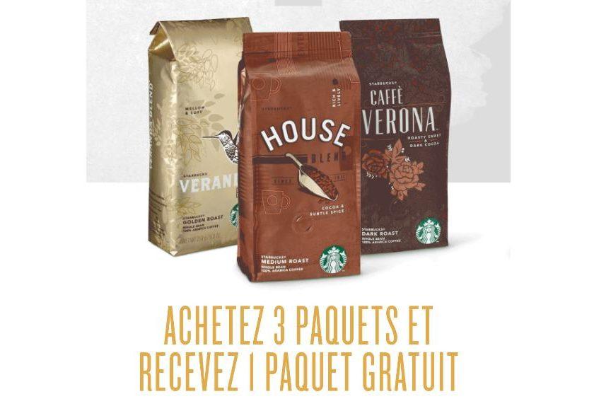 3 paquets de café Starbucks achetés = le 4ème gratuit