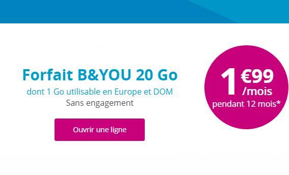 Forfait 20Go série speciale B&YOU 1,99 euros