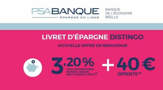 PSA Banque livret d'épargne Distingo à 3,2%