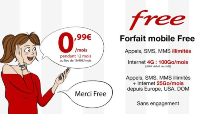 Vente privée forfait Free mobile 100Go
