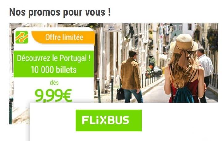 10000 billets de bus Flixbus vers le Portugal à 9,99€