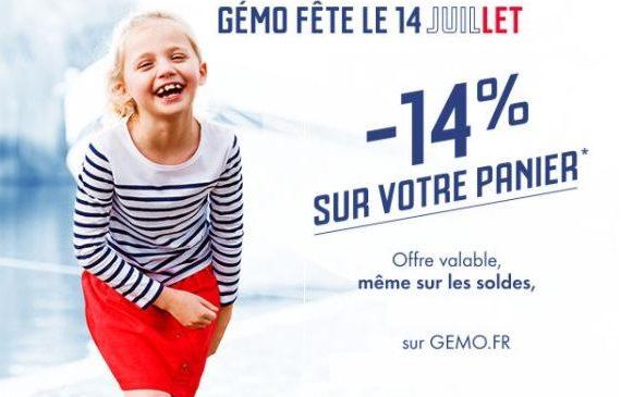 14% de remise sur tout Gemo
