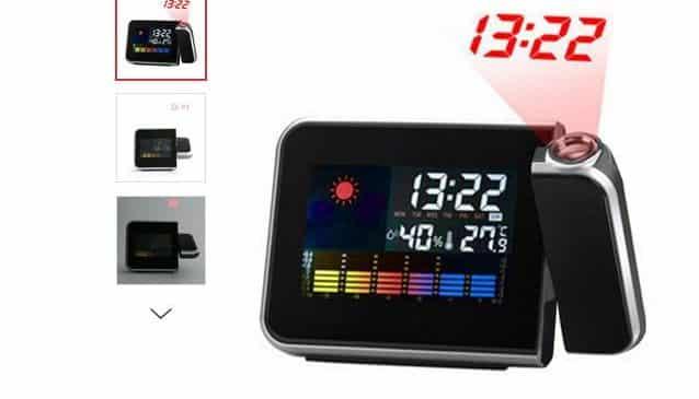 5,43€ le réveil avec projection heure au mur et température/humidité