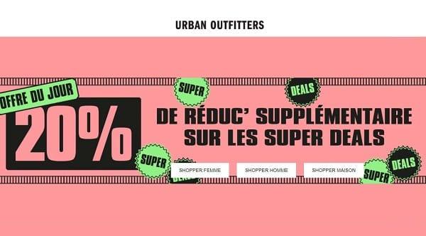 code promo 20% supplémentaires sur les soldes urban outfitters