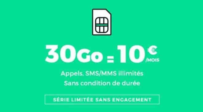 Forfait 30Go RED SFR 10€/mois à vie
