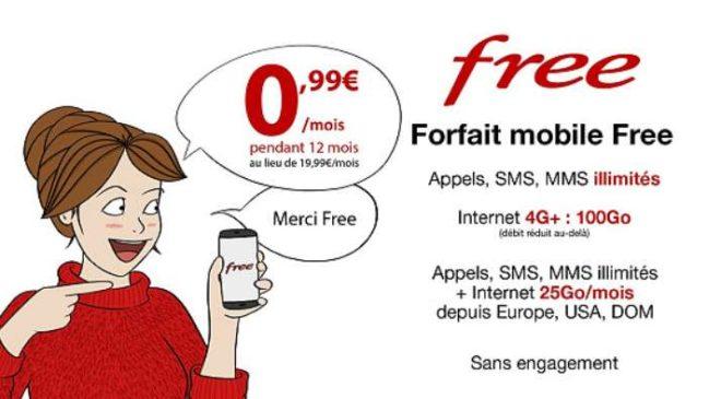 forfait Free mobile 100Go internet en vente privée