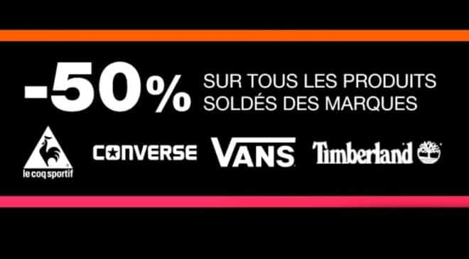 les articles Vans, Le Coq Sportif, Timberland et Converse soldés -50%
