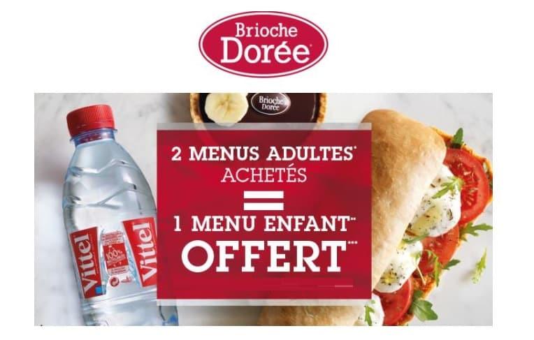 menu enfant Brioche Dorée gratuit pour 2 menus adultes achetés