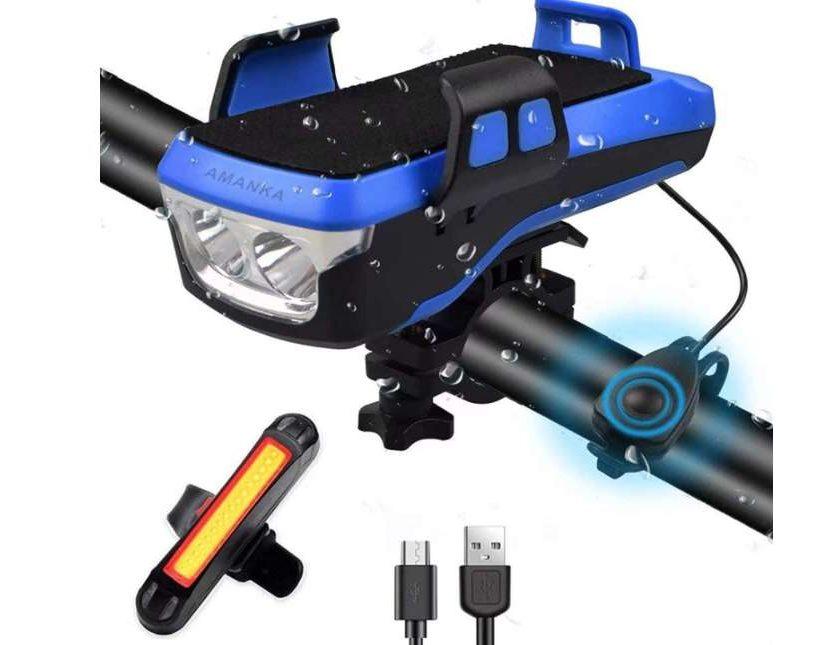 set d'éclairage avant et arrière vélo avec fonction batterie externe amanka usb rechargeable, sonette et support pour téléphone, ipx7 étanche