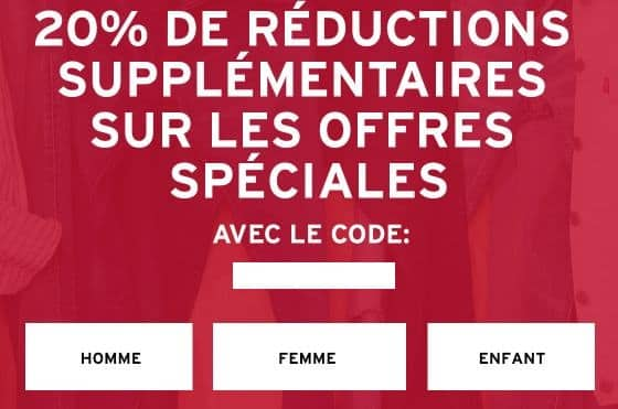 20% supplementaires sur les promotions Levi's
