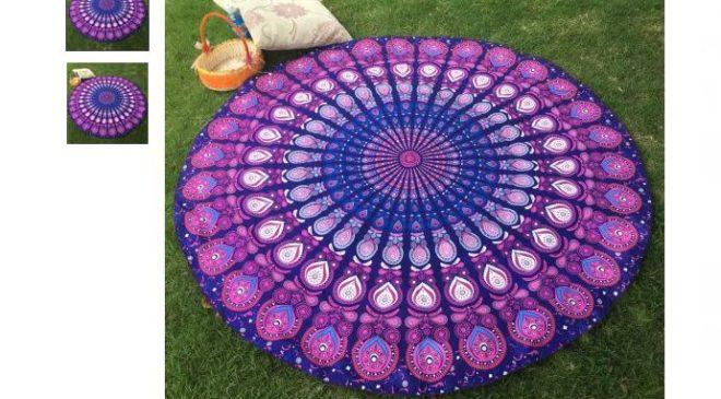 3,01€ le plaid - châle rond motif violet diamètre 150cm
