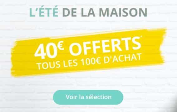 40€ de remise immédiate tous les 100€ meuble et literie Auchan