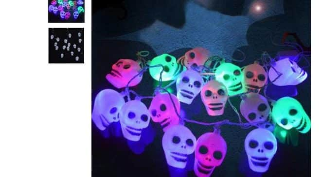 4,22€ la guirlande lumineuse 16 cranes LED Halloween Party