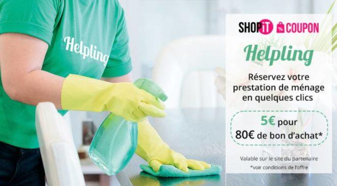Bon d'achat Helpling : 5€ les 4 bons de 20€ (soit 80€) pour ménage à domicile