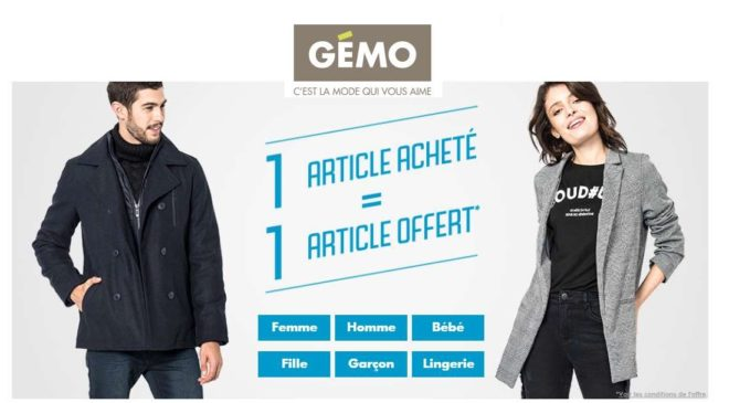 Bon plan Gémo 1 article acheté = 1 article offert