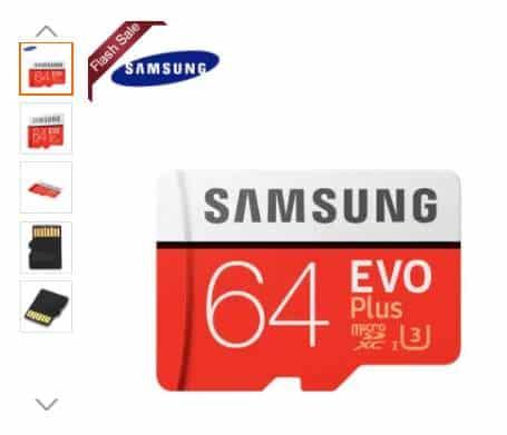 Moins de 20€ la carte micro SDXC 64Go Samsung EVO UHS-3