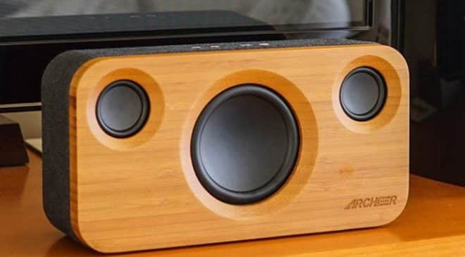 Moins de 69€ l'enceinte en Bambou 25W Bluetooth ARCHEER