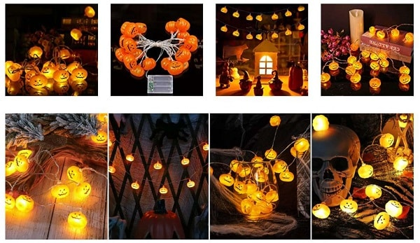 guirlande lumineuse 20 citrouilles led halloween party tepilos