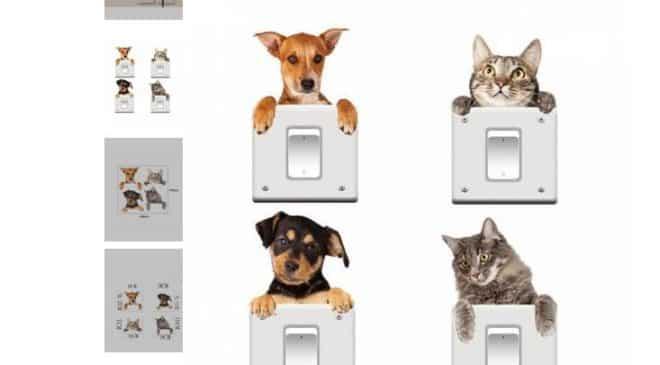 1,28€ lot de 4 autocollants chat et chien repositionnables