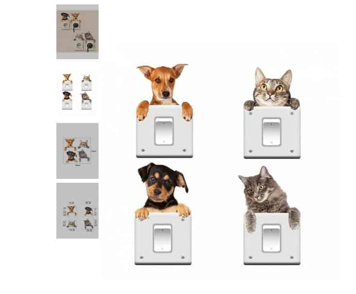 1,28€ lot de 4 autocollants chat et chien repositionnables