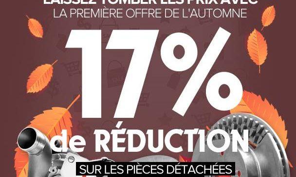 17% de remise sur tout le site PiecesAuto