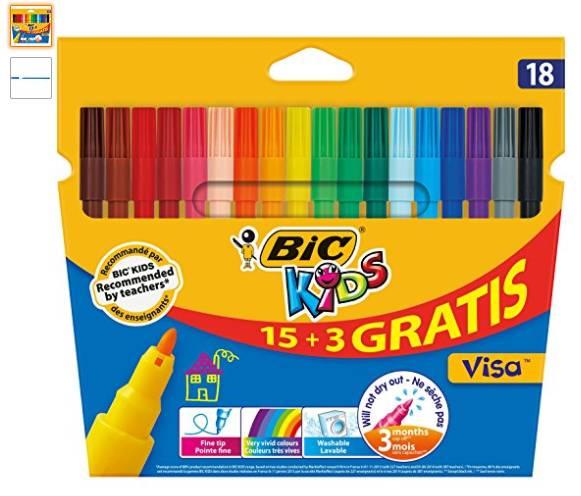 18 feutres BIC Kids à seulement 1,91€