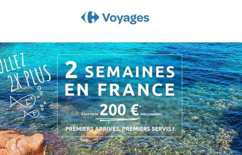 2 semaines de vacances en France pour 200€