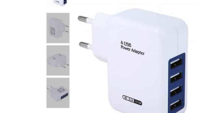 2,14€ le chargeur 4 ports USB port inclus