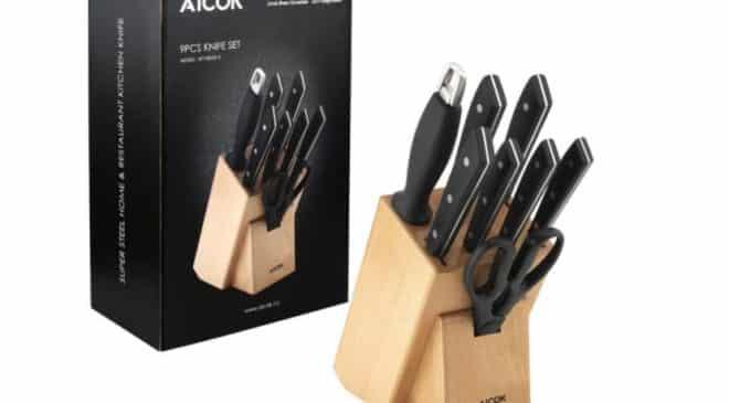 30 le bloc couteaux en bois 6 couteaux aiguisoir ciseaux aicok - Bloc en bois pour couteau ...