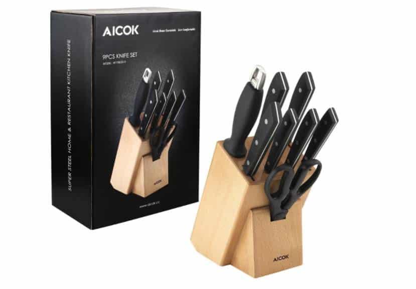 30€ le bloc couteaux en bois et couteaux Aicok