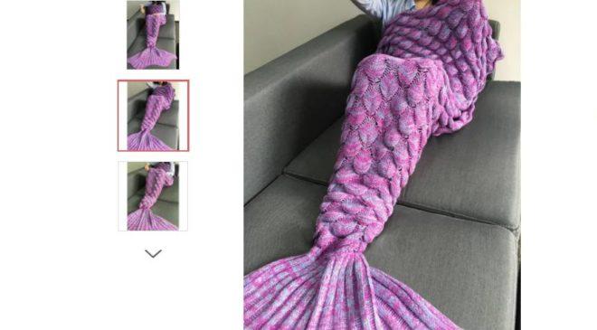 moins de 6€ la couverture en forme de queue de sirène