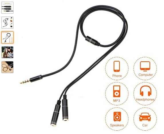5€ le câble jack audio séparateur 2 prises femelles