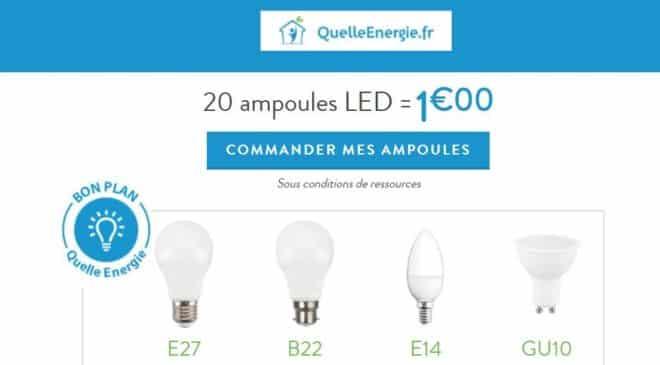 Commandez 20 ampoules LED pour 1€ sur Quelle Energie
