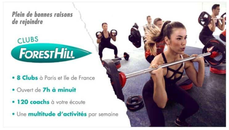 Vente privée abonnements clubs Forest Hill Paris