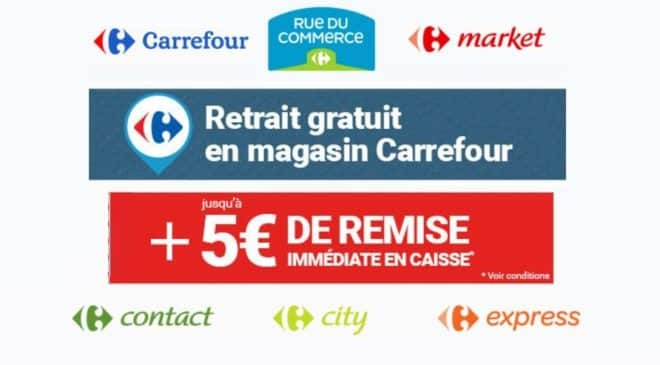 de 3 5 offert si achat rue du commerce et retrait magasin carrefour. Black Bedroom Furniture Sets. Home Design Ideas