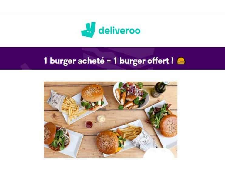 1 burger gratuit pour 1 burger acheté sur deliveroo