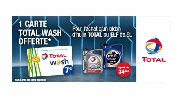 1 carte total Wash de 7€ gratuite pour 1 bidon d'huile Total ou ELF