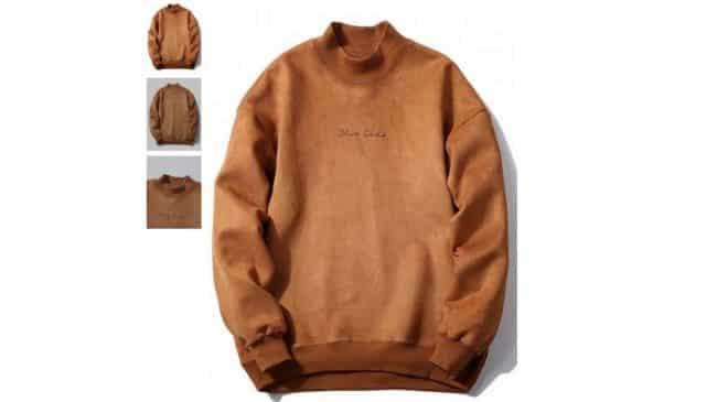 13,69€ le sweat-shirt effet daim pour homme manche longue
