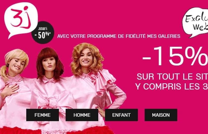 15% de remise supplémentaire sur les 3J Galeries Lafayette