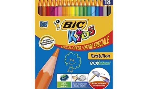 18 crayons de couleur BIC Kid Evolution ECOlutions en boite métal