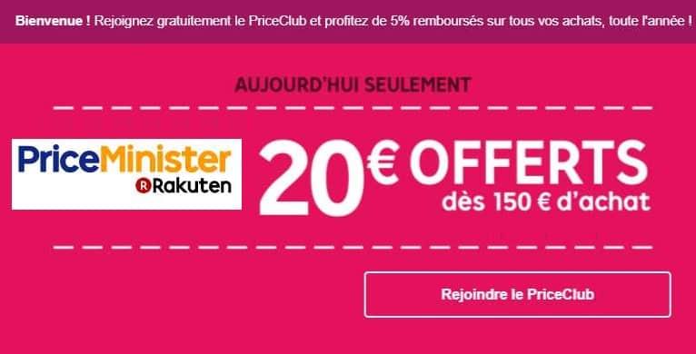 20 de r duction sur priceminister d s 150 aujourd hui uniquement - Vente unique bon de reduction ...