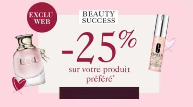 25% de remise sur l'article de votre choix sur Beauty Success